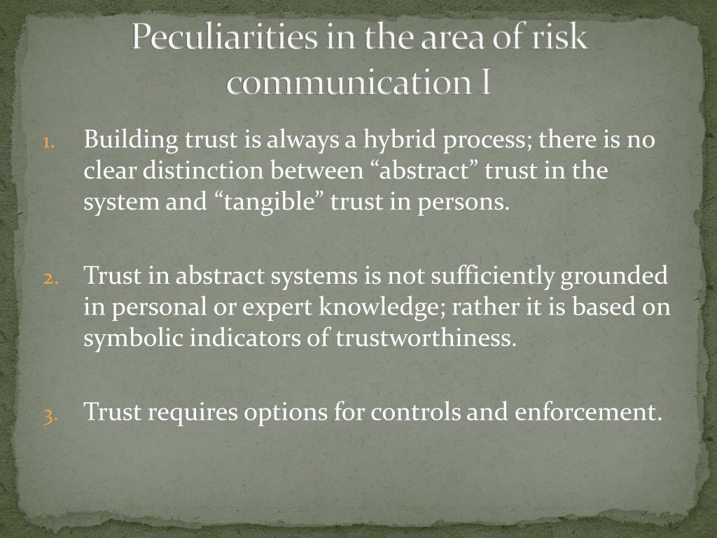 Peculiarities in the area of risk communication I
