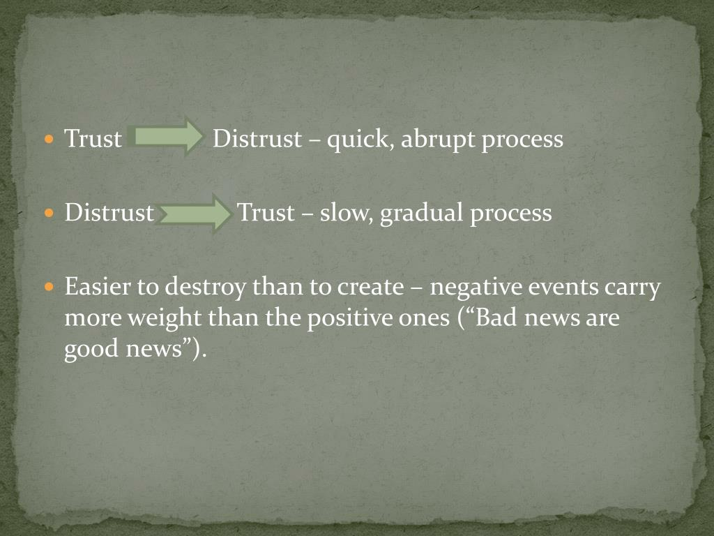 Trust              Distrust – quick, abrupt process