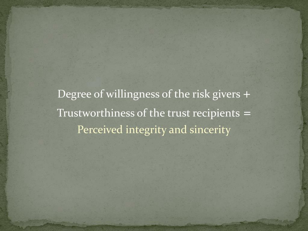 Degree of willingness of the risk givers
