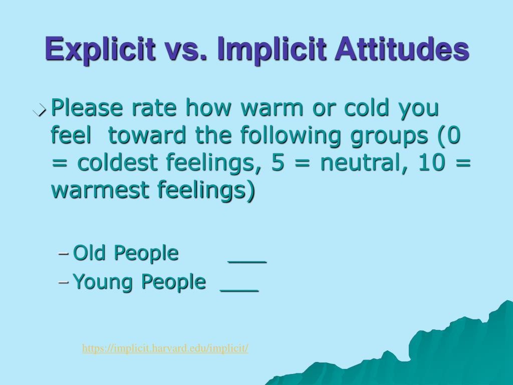Explicit vs. Implicit Attitudes