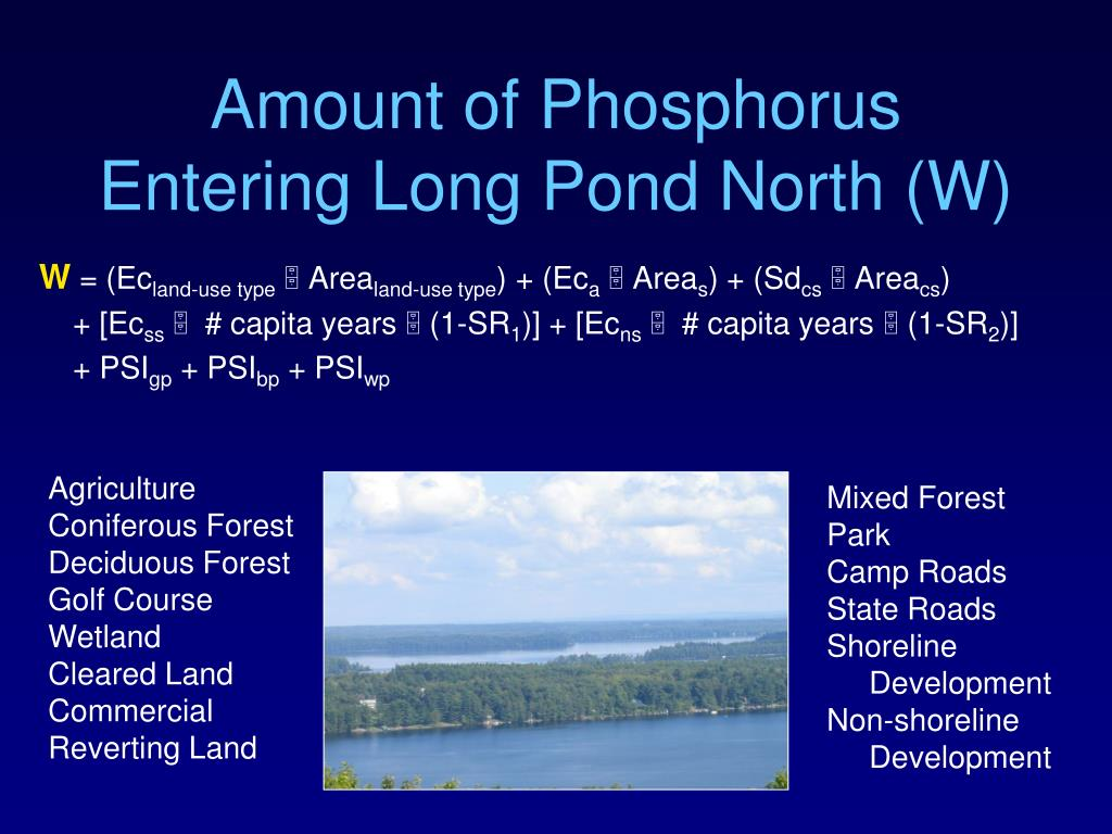 Amount of Phosphorus Entering Long Pond North (W)