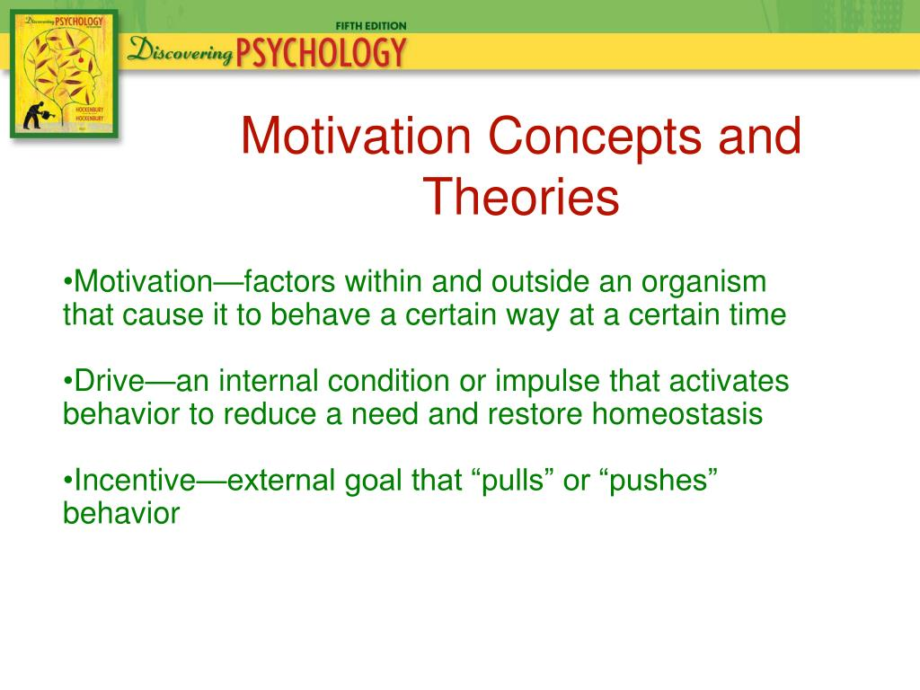 theories and concepts of motivation Management and motivation nancy h shanks frame the context for understanding the concept of motivation, par- intrinsic factor theories of motivation theories that are based on intrinsic or endogenous factors focus on inter.