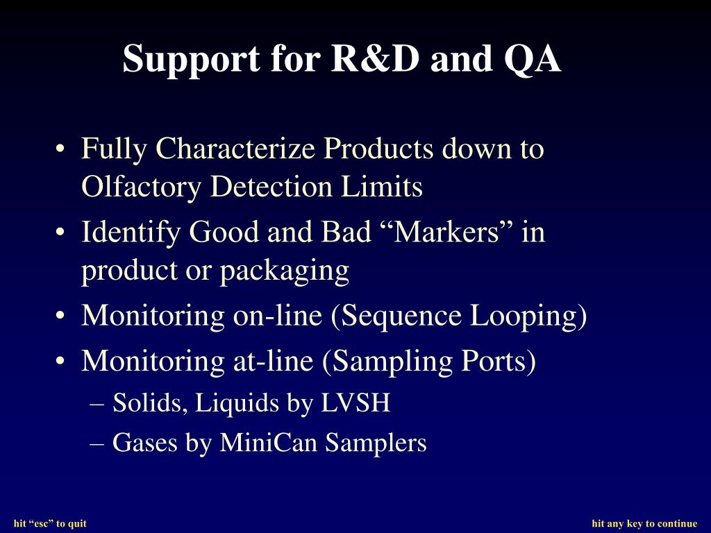 Support for R&D and QA
