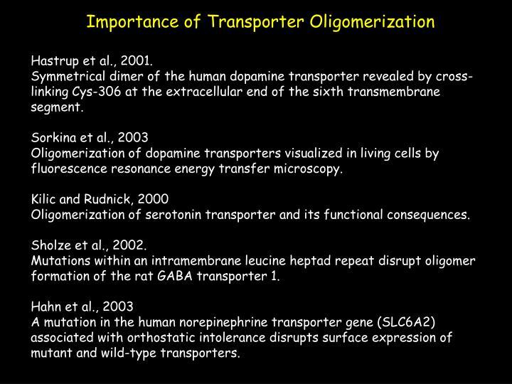 Importance of Transporter Oligomerization