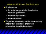 assumptions on preferences