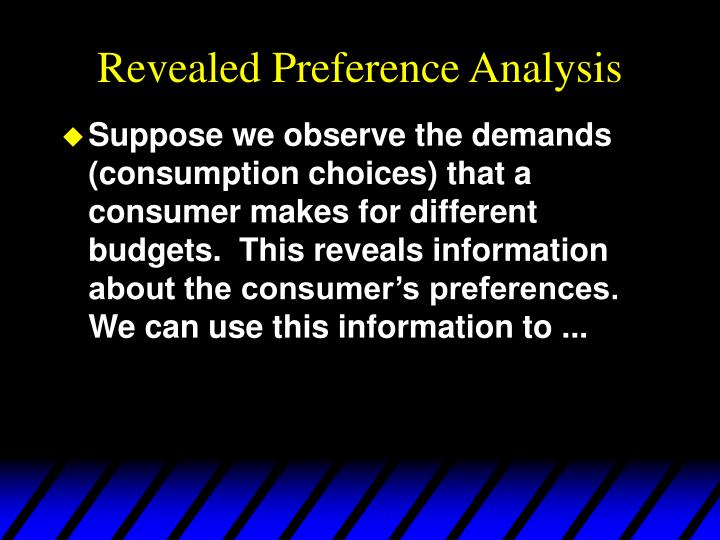 Revealed preference analysis