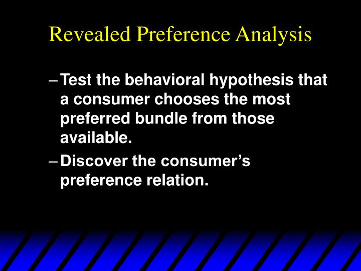 Revealed preference analysis1