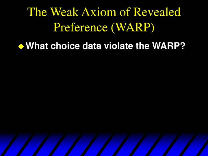 The Weak Axiom of Revealed Preference (WARP)