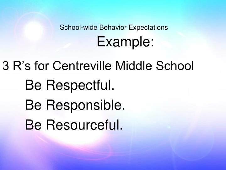 3 R's for Centreville Middle School