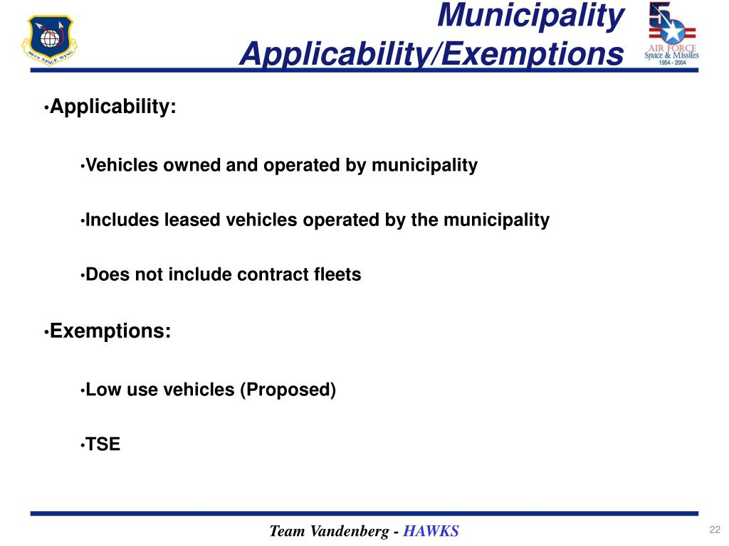 Municipality Applicability/Exemptions