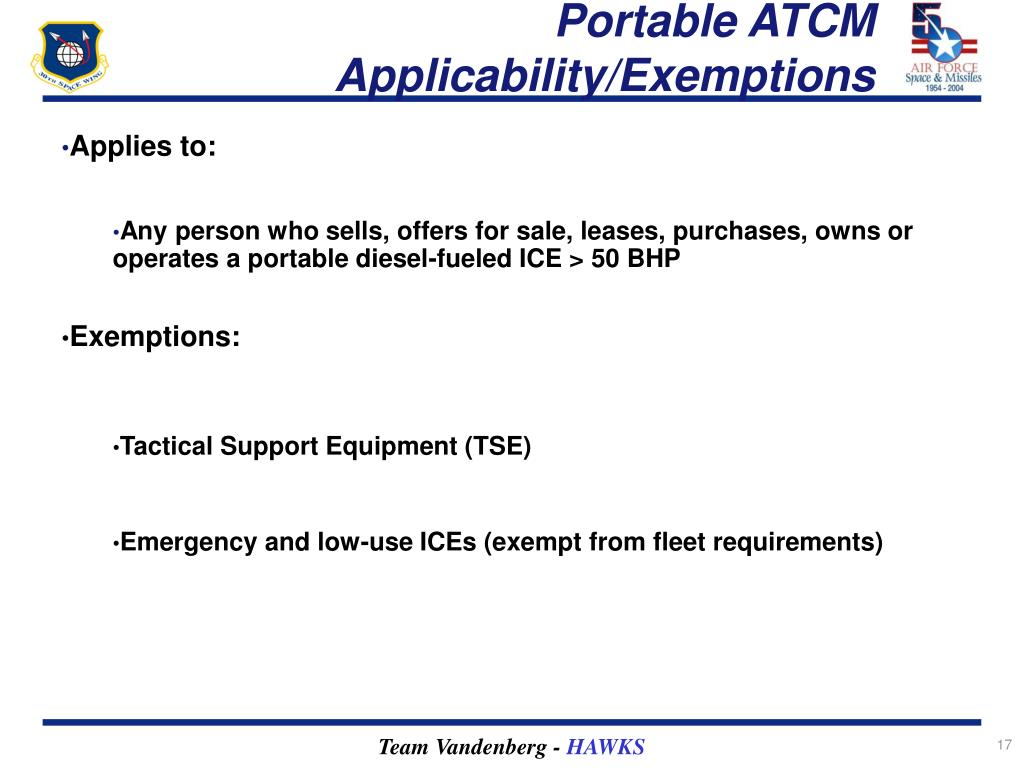 Portable ATCM Applicability/Exemptions