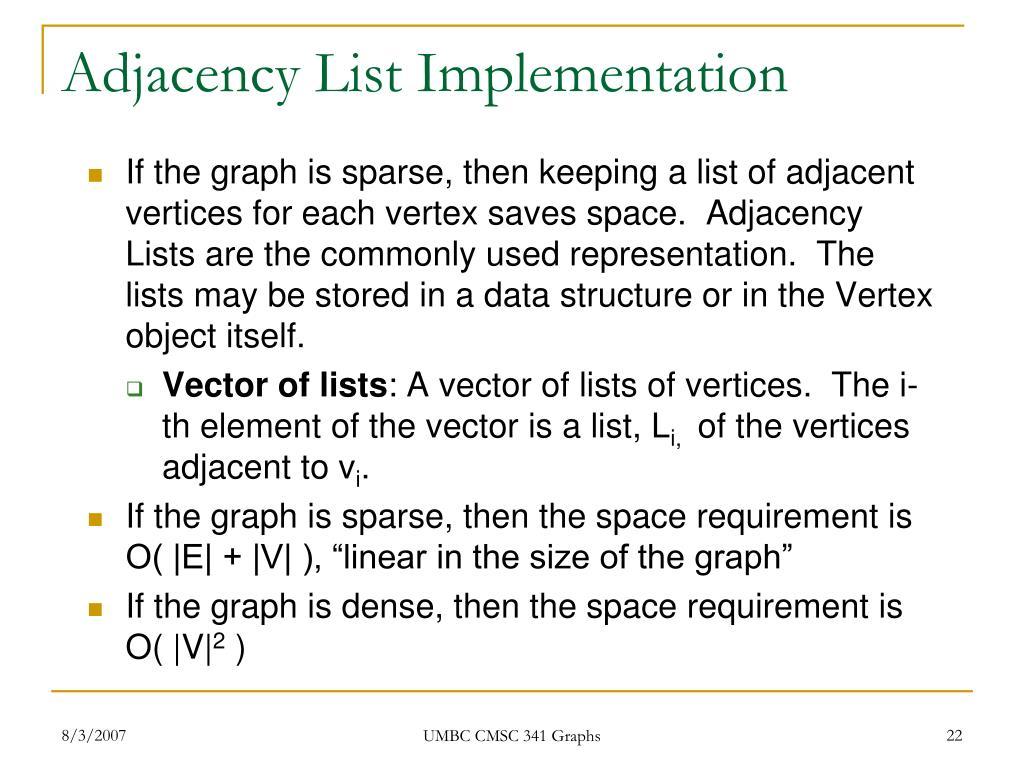 Adjacency List Implementation