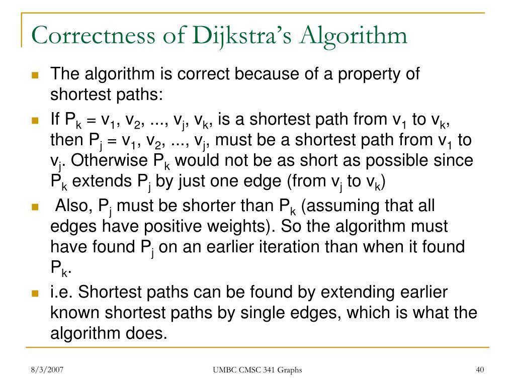 Correctness of Dijkstra's Algorithm
