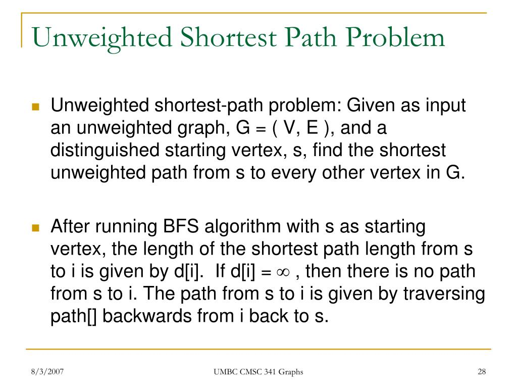 Unweighted Shortest Path Problem