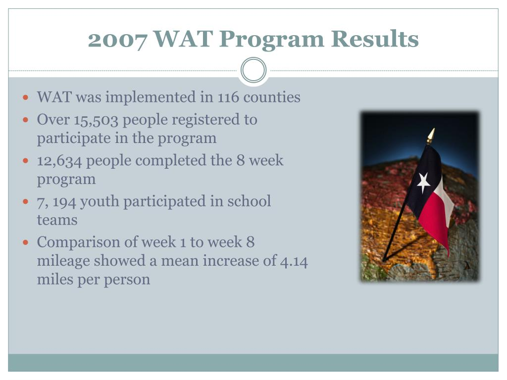 2007 WAT Program Results