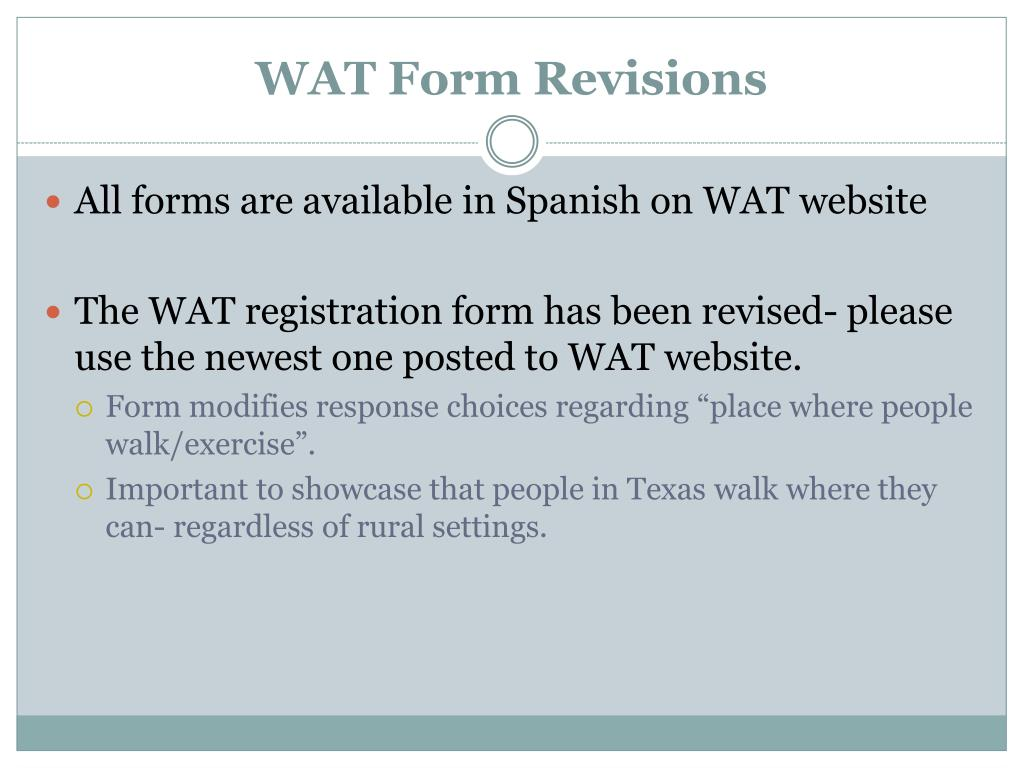 WAT Form Revisions