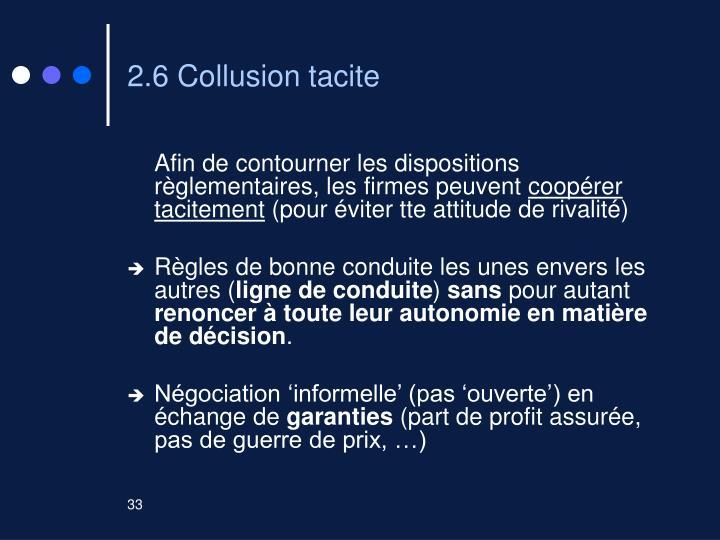 2.6 Collusion tacite