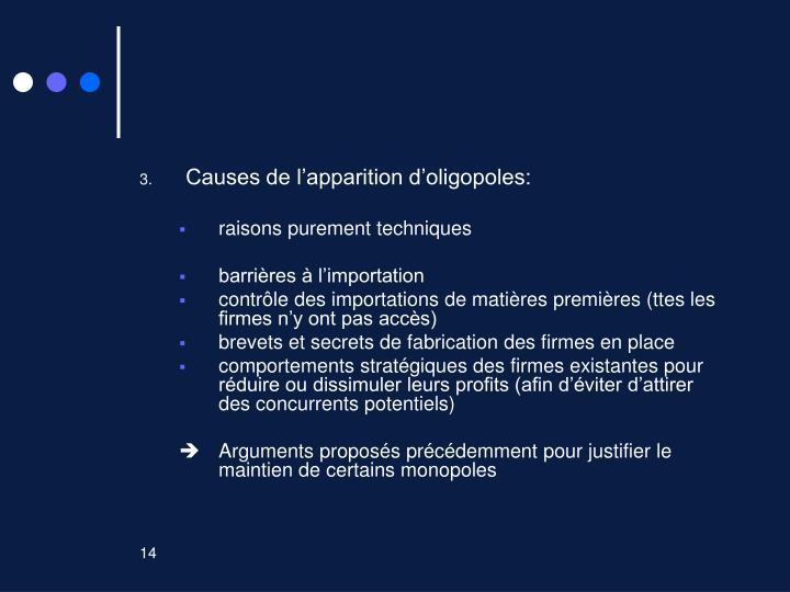 Causes de l'apparition d'oligopoles: