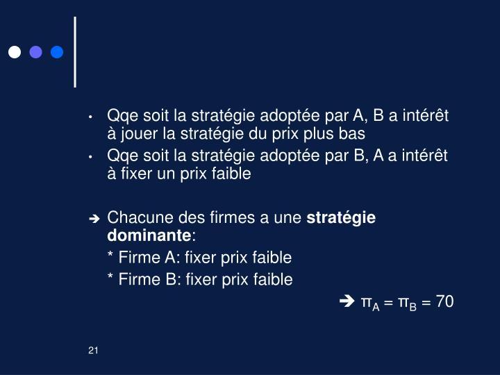 Qqe soit la stratégie adoptée par A, B a intérêt à jouer la stratégie du prix plus bas