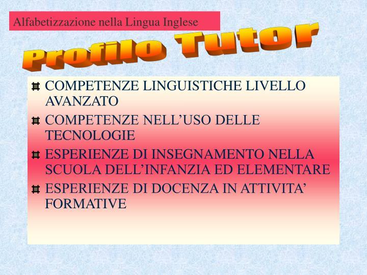Alfabetizzazione nella Lingua Inglese