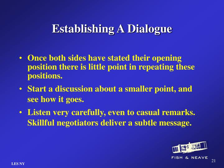 Establishing A Dialogue