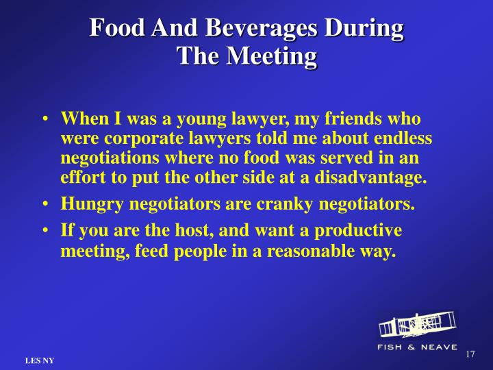 Food And Beverages During The Meeting
