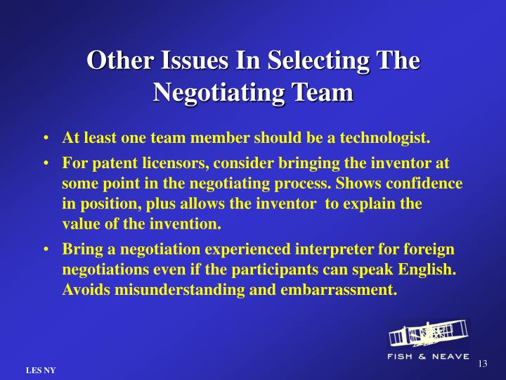 Other Issues In Selecting The Negotiating Team