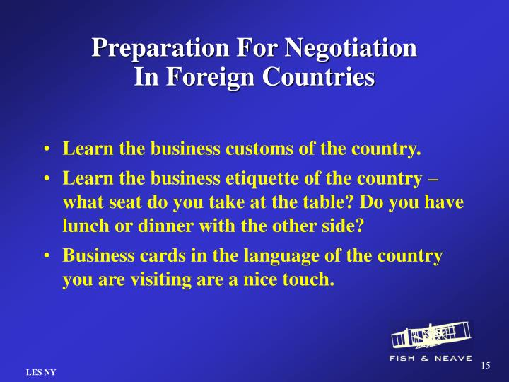 Preparation For Negotiation In Foreign Countries