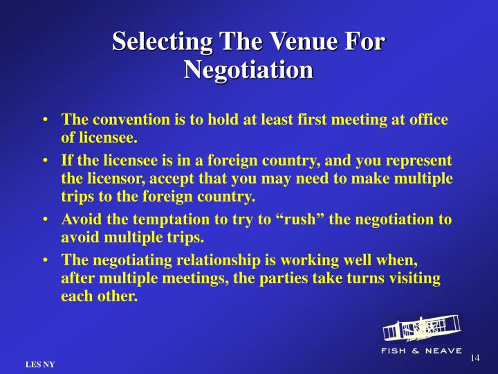 Selecting The Venue For Negotiation