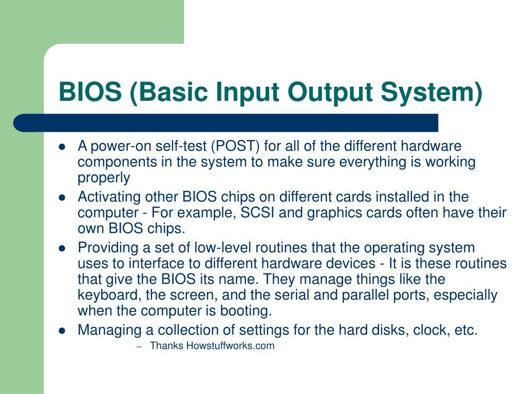 BIOS (Basic Input Output System)