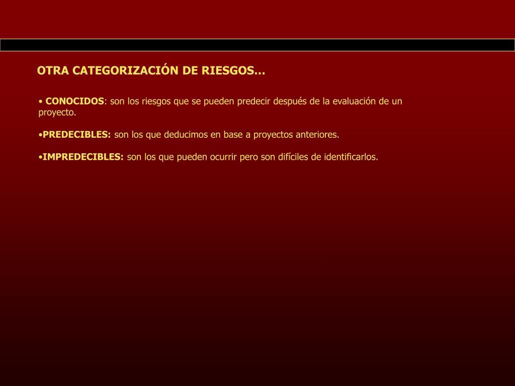 OTRA CATEGORIZACIÓN DE RIESGOS…