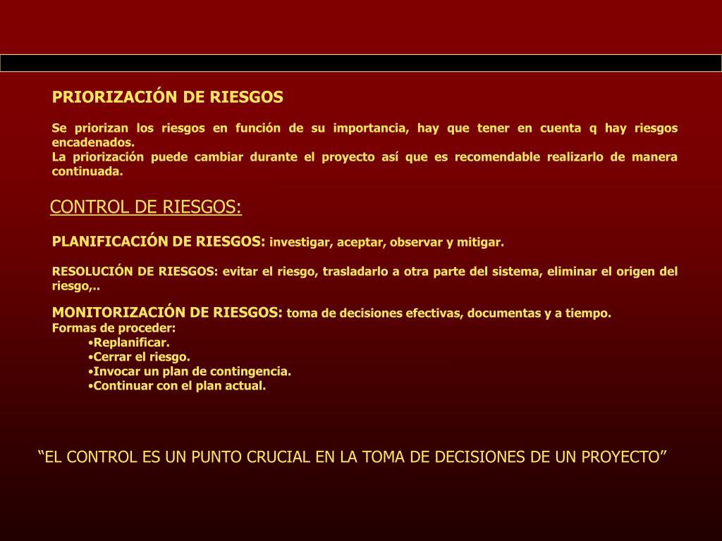 PRIORIZACIÓN DE RIESGOS