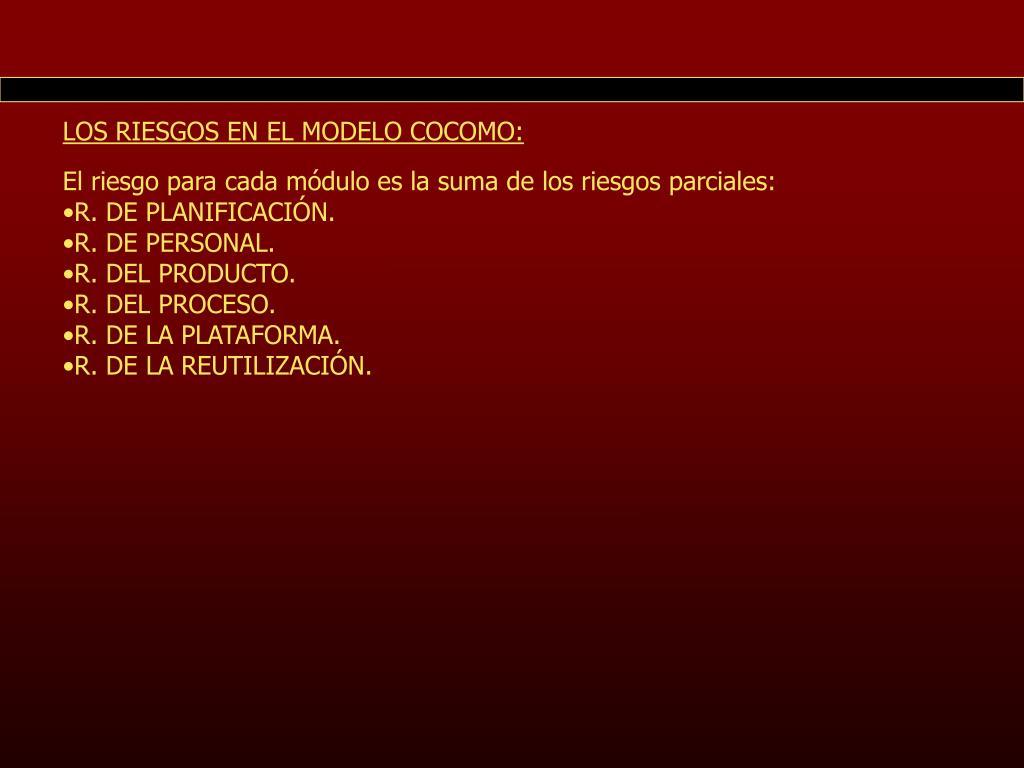 LOS RIESGOS EN EL MODELO COCOMO: