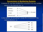 conversions in numbering systems