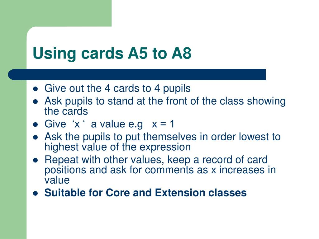 Using cards A5 to A8