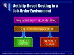 activity based costing in a job order environment