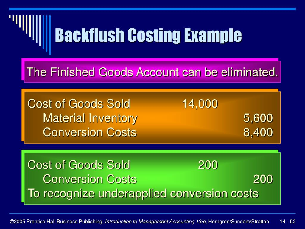 Backflush Costing Example