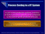 process costing in a jit system