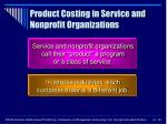product costing in service and nonprofit organizations