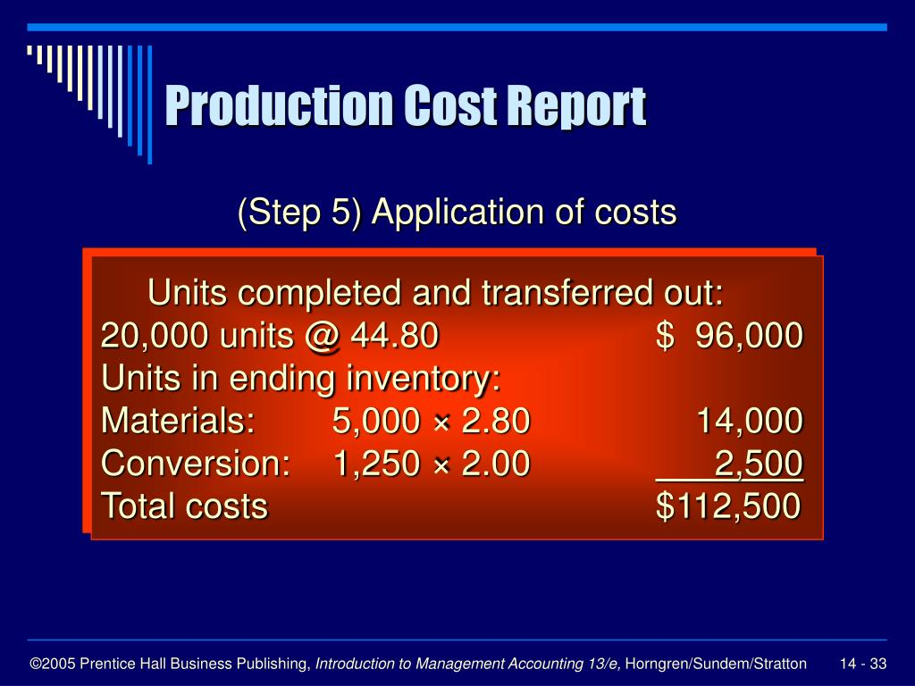 (Step 5) Application of costs
