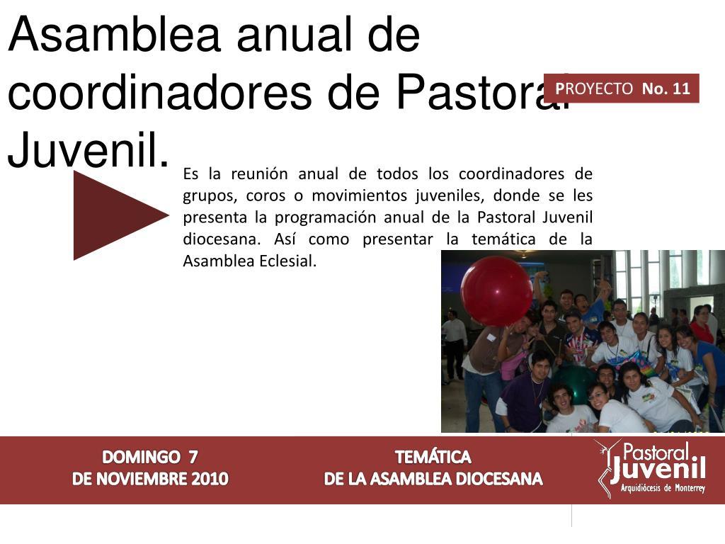 Asamblea anual de coordinadores de Pastoral Juvenil.