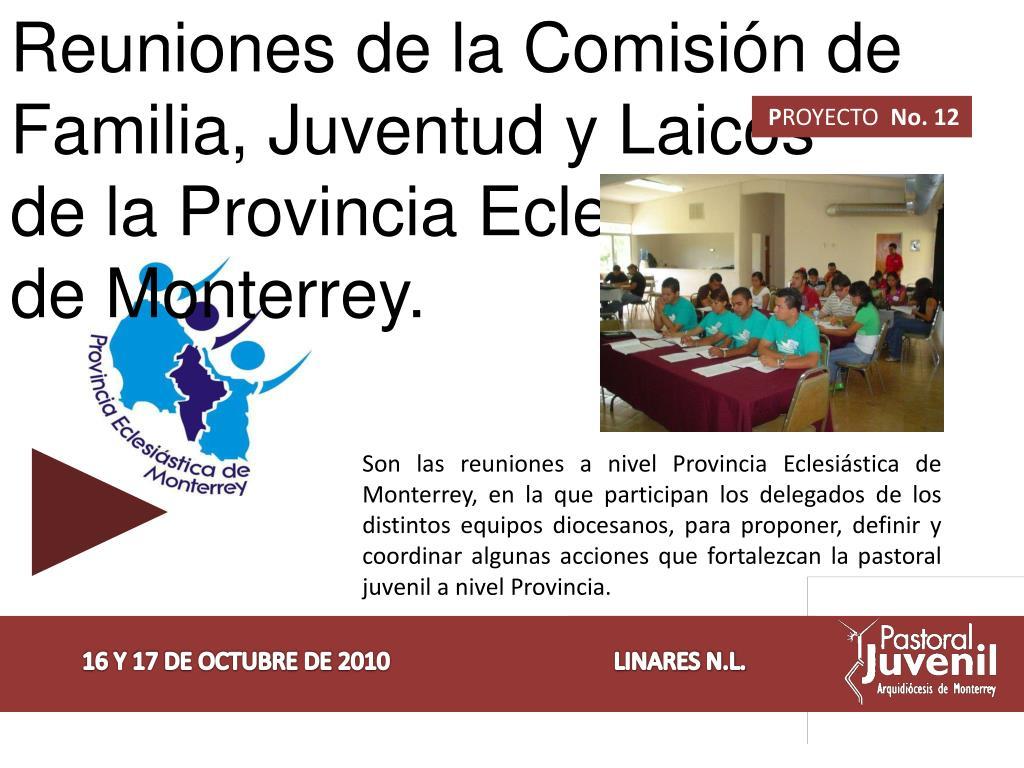 Reuniones de la Comisión de Familia, Juventud y Laicos de la Provincia Eclesiástica de Monterrey.