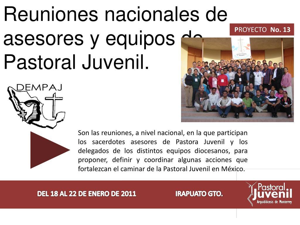 Reuniones nacionales de asesores y equipos de Pastoral Juvenil.