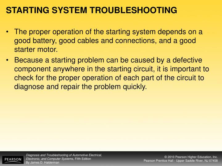 Starting system troubleshooting