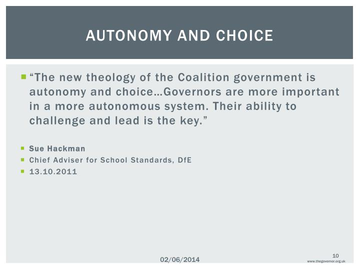 AUTONOMY AND CHOICE
