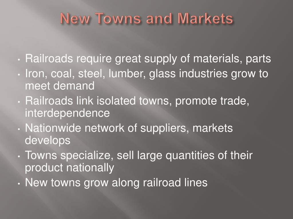 New Towns and Markets