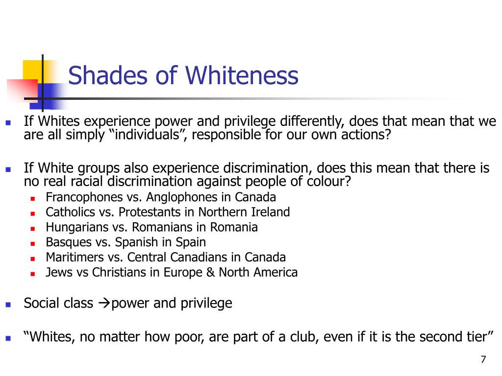 Shades of Whiteness
