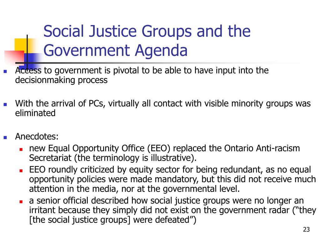 Social Justice Groups and the Government Agenda