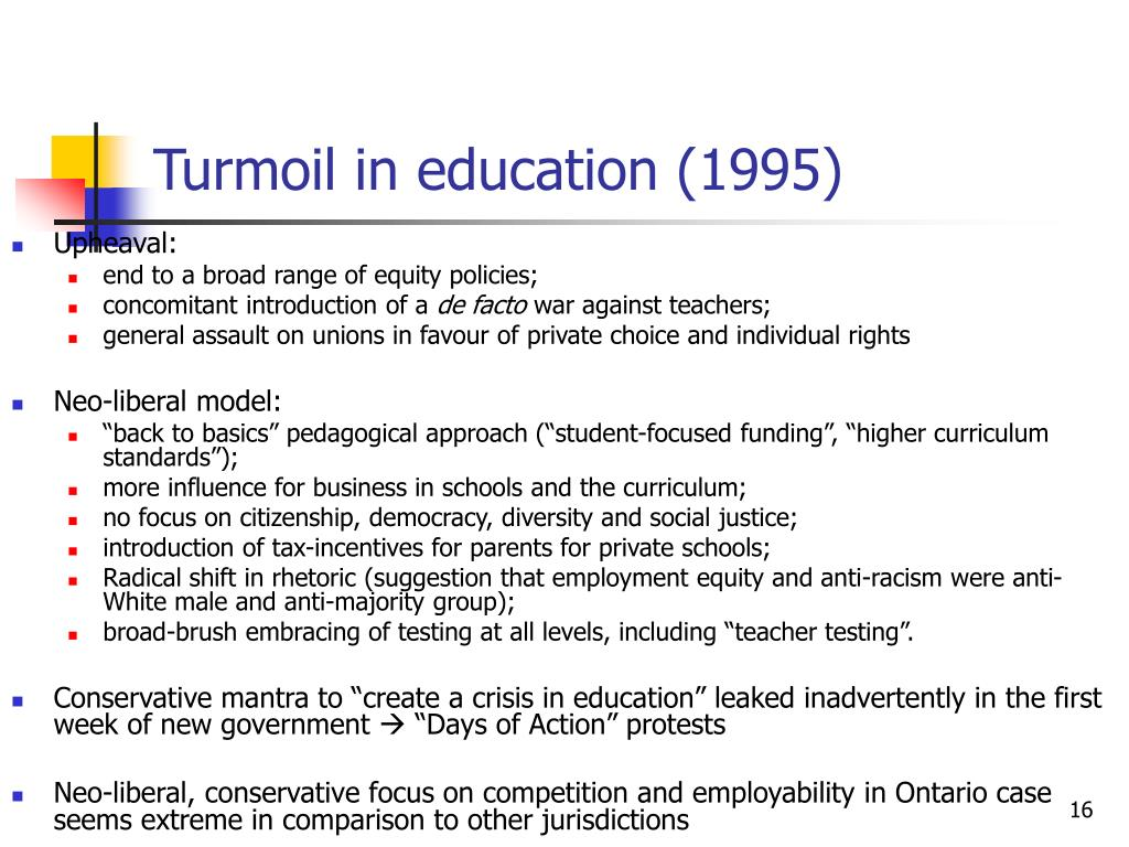 Turmoil in education (1995)