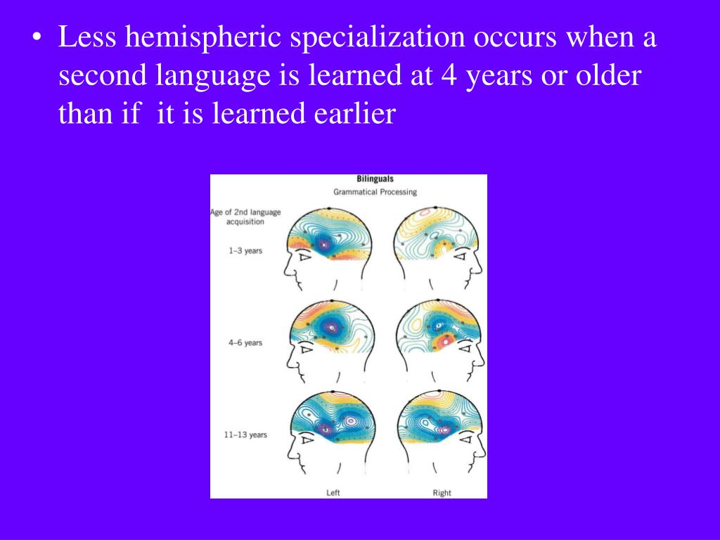 Less hemispheric specialization occurs when a second language is learned at 4 years or older than if  it is learned earlier